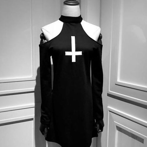 Gothic Inverted Cross Sexy Open Shoulder Dress
