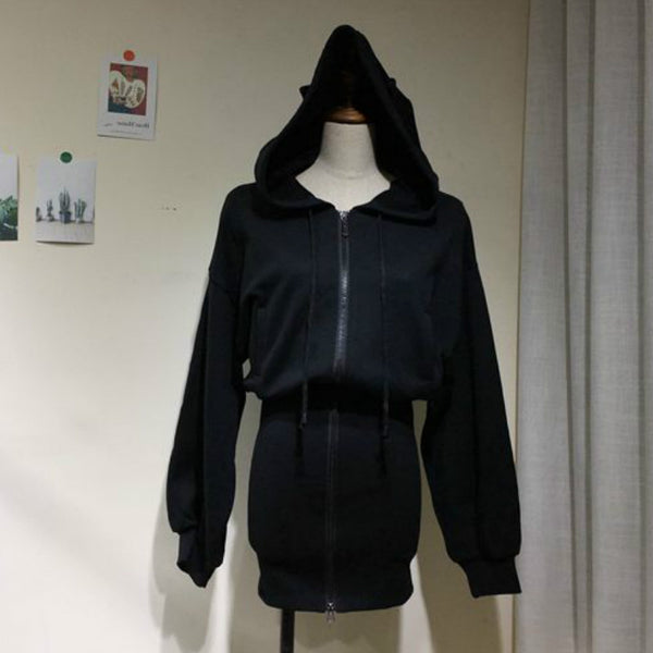 Gothic Cat Ears Long Zip Up Hoodie Cardigan Jacket