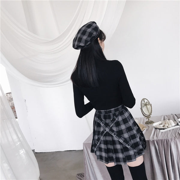 Gothic Grunge Black Gray Plaid Pleated Skirt
