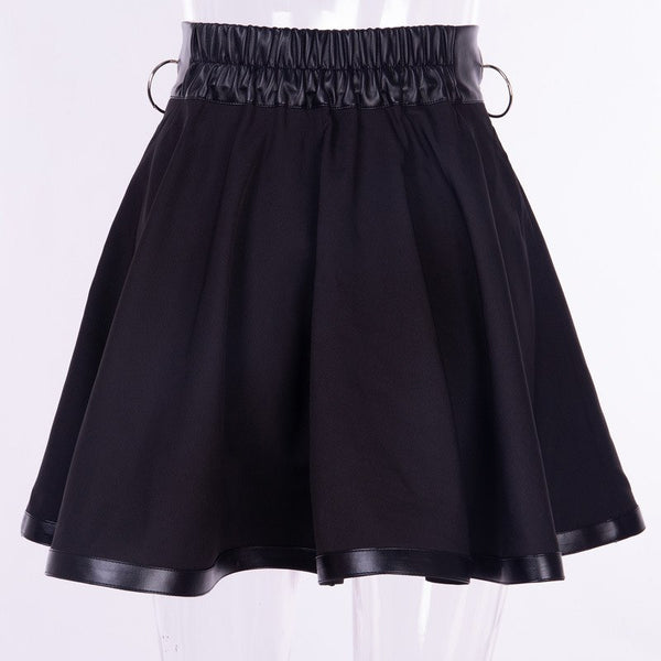Gothic Punk O-Ring Zip Up Mini Skirt