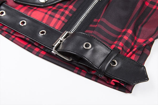 Gothic Punk Plaid Rivet Crop Tank Top (Available in Red Plaid and Plain Black)