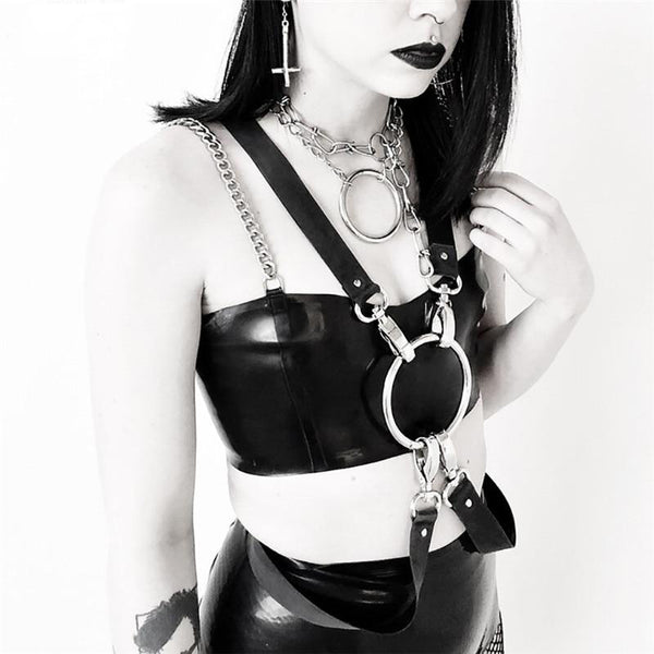 Gothic Faux Leather Chain Strap Crop Top