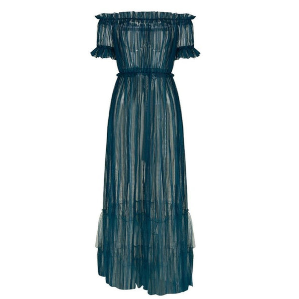 Gothic Off Shoulder Mesh See Through Maxi Dress