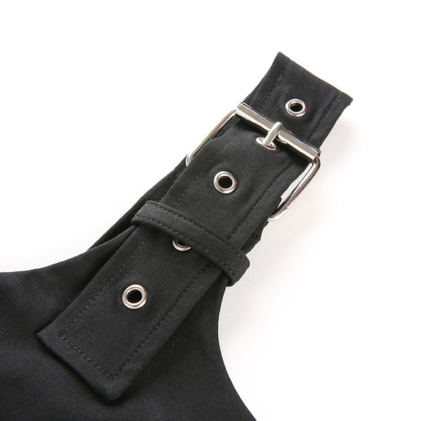 Gothic Grunge Eyelet Adjustable Waist Strap Crop Top