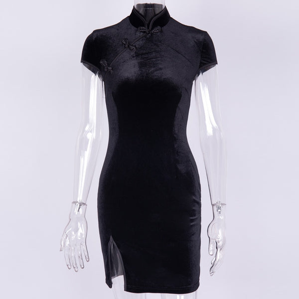 Gothic Velvet Cheongsam Style Bodycon Mini Dress