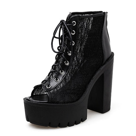 Gothic Lace Peep Toe Boots