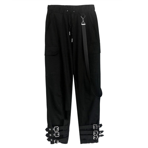 Gothic Grunge Buckle Strap Pants