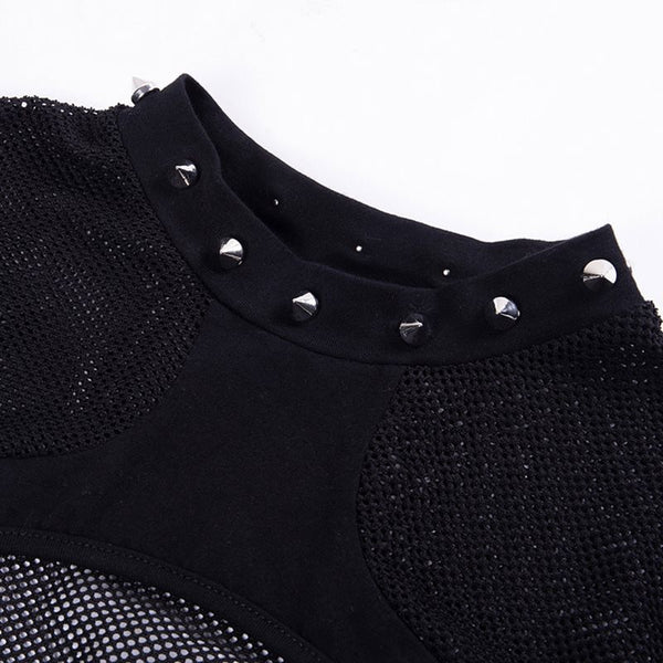 Gothic Rivets And Mesh Top