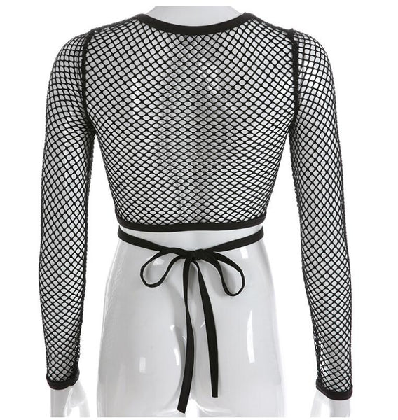 Gothic Fishnet Criss Cross Strap Crop Top