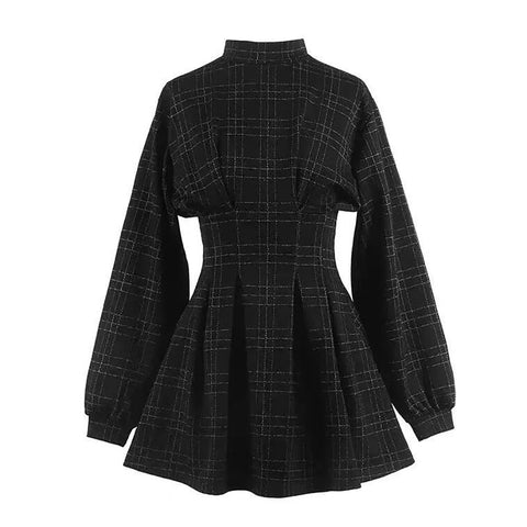 Gothic Vintage Lantern Sleeve Plaid Dress
