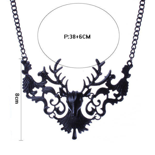 Gothic Black Deer Halloween Collar Necklace