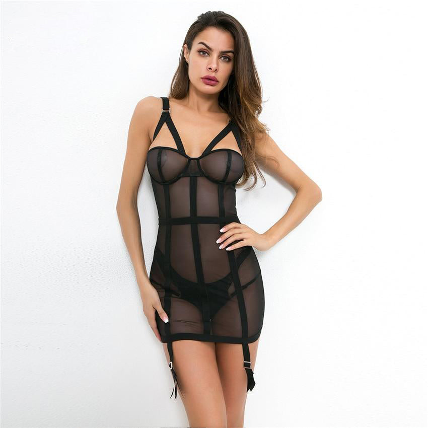 Gothic Strappy Mesh Bodycon Dress