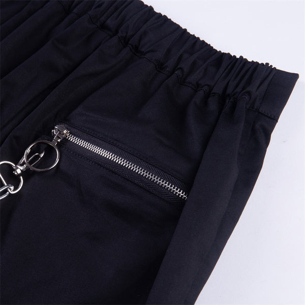 Gothic Grunge Zip Up Chain Jogger Pants