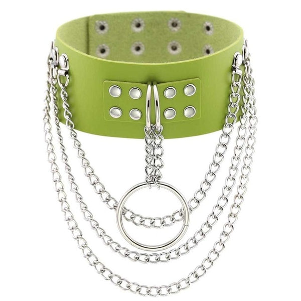 Gothic Multilayer Chains Ring Choker Necklace