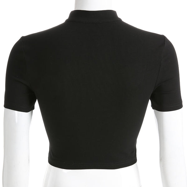 Gothic Choker Collar Short Sleeve Crop Top