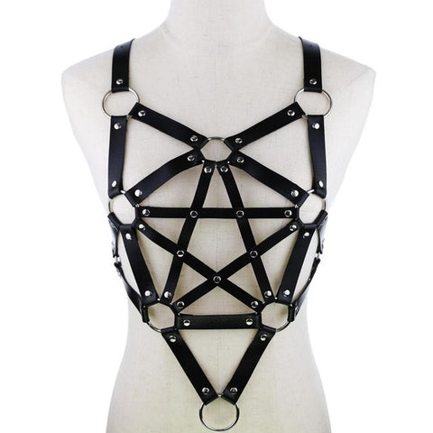 Gothic Faux Leather Pentagram Body Harness