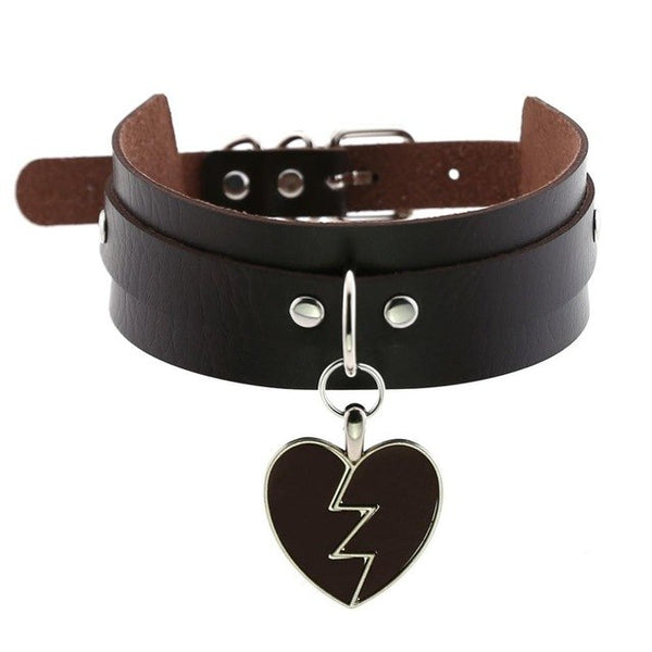 Gothic Punk Broken Hear Choker Necklace (Available in 16 Colors)