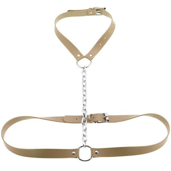 Gothic Chain Front Strap Body Harness