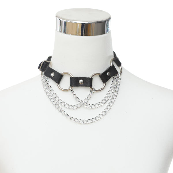 Gothic Punk Rings and Chains Choker Necklace (Available in 3 Colors)