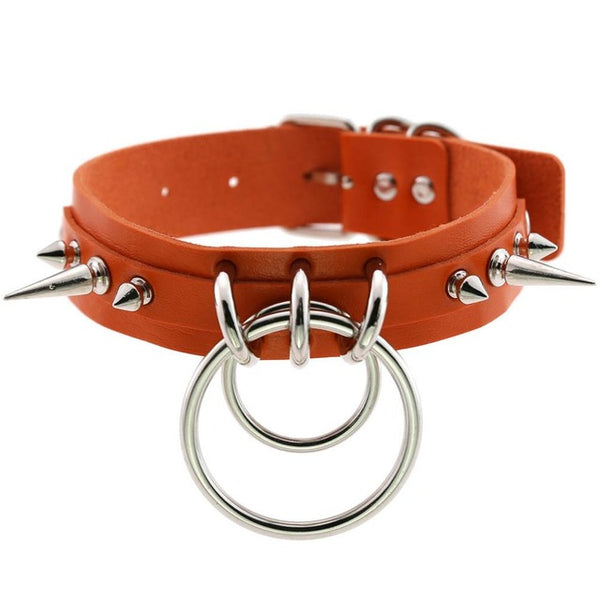 Gothic Double O-Ring Spikes Choker Necklace (Available in 16 Colors)