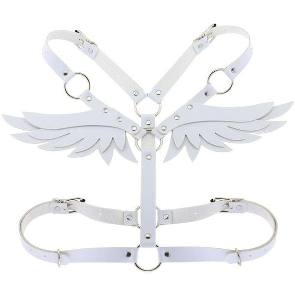 Gothic Wings Faux Leather Body Harness (Available in 15 colors)