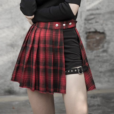 1fc6f271d1 Gothic Harajuku Red/Black Pleated Short Skirt