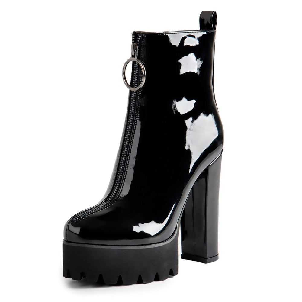 Gothic O-Ring Zipper Patent Leather Platform Boots
