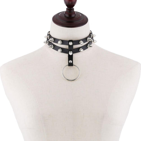 Gothic 2-Layer O-Ring Spikes Choker Necklace