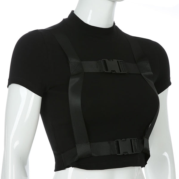 Gothic Cross Buckle Crop Top