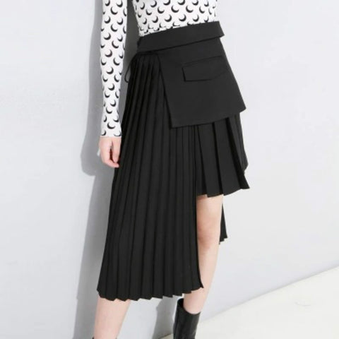 Gothic Avant Garde Irregular Pleated Skirt