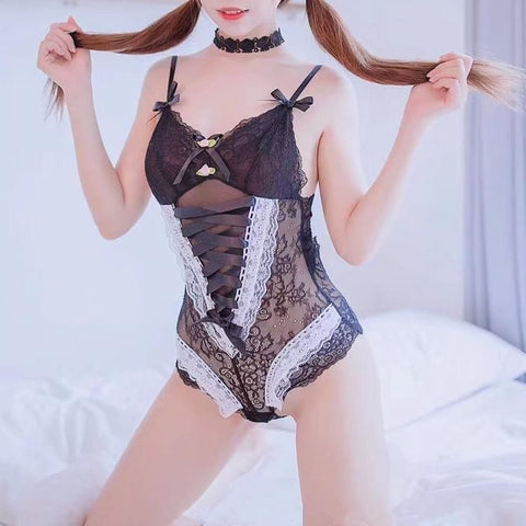 Gothic Lolita Ribbon and Lace Lingerie Bodysuit