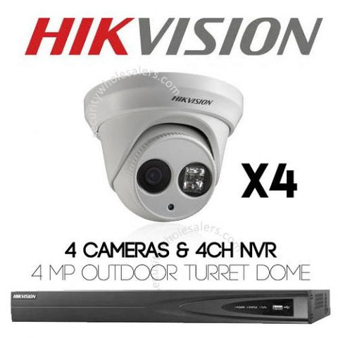 4MP 4CH Hikvision CCTV Kit: 4 x Outdoor Turret Dome Cameras + 4CH NVR