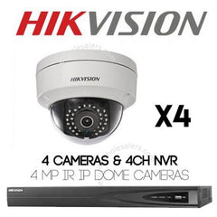 4MP 4CH Hikvision CCTV Kit: 4 x IP Dome Cameras + 4CH NVR