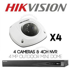 4MP 4CH Hikvision CCTV Kit: 4 x Mini Dome Cameras + 4CH NVR