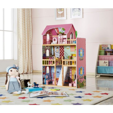 Angelina Open Style Dollhouse with Furniture-Lilypond Kids