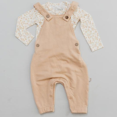 Halo and Horns Overalls – Bamboo French Terry Wheat-Lilypond Kids