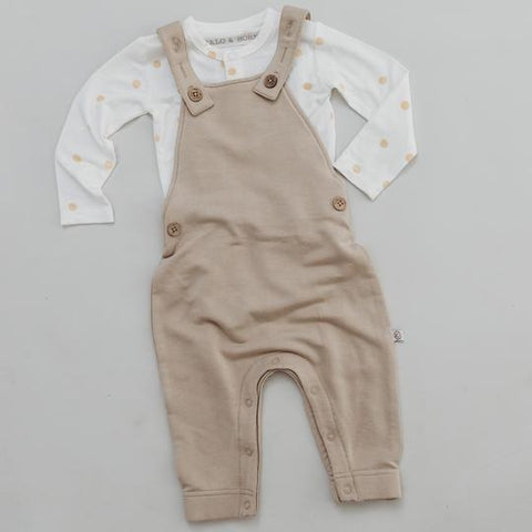 Halo and Horns Overalls – Bamboo French Terry Fawn-Lilypond Kids
