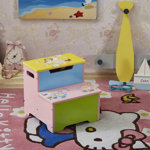 Hand Painted Pink Fairy Step Stool-Lilypond Kids