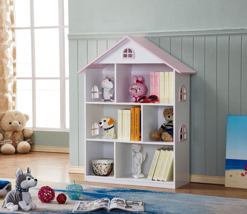 Veronica Girls Pink Roof Dollhouse Bookcase-Lilypond Kids