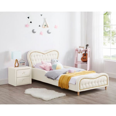 Brooklyn Heart PU Leather Single Upholstered Bed - White-Lilypond Kids