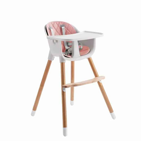 Wooden High Chair - Amelia 2-In-1 Pink by Joy Baby-Lilypond Kids