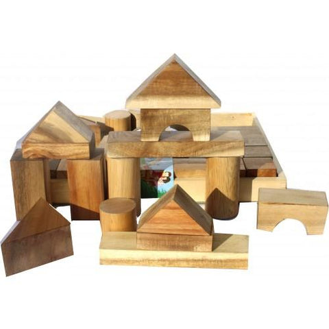 Natural Wood Blocks - 34 Pieces-Lilypond Kids