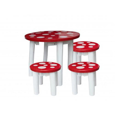 Mushroom Table And 3 Stools-Lilypond Kids