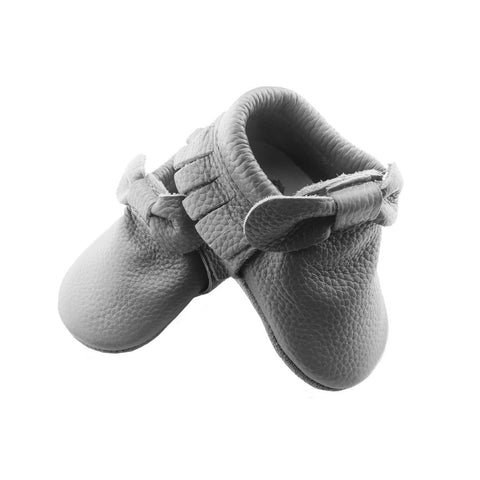 Grey Bow Moccasin-Lilypond Kids