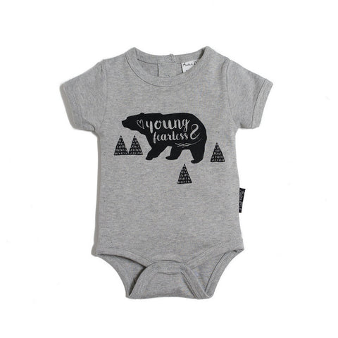 Young & Fearless Grey Marle Organic Cotton Onesie.-Lilypond Kids