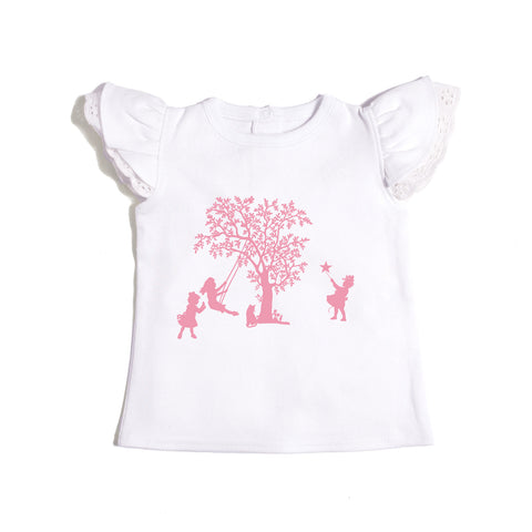 Enchanted Meadow Print Flutter Girls Tee Shirt - Organic Cotton - Lilypond Kids
