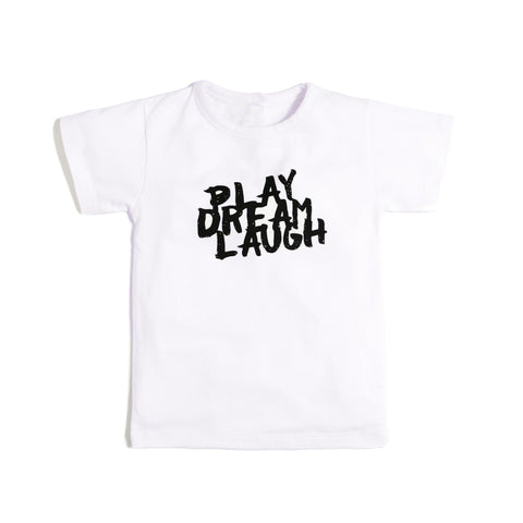 Aster & Oak Organic Cotton Tee Shirt - Play Dream Laugh - White-Lilypond Kids