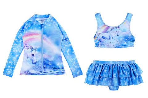 Unicorn Bikini With Long Sleeve Rash Top Set-Lilypond Kids