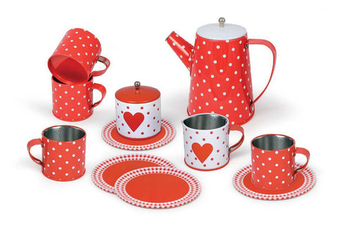 13pcs Heart Tin Tea Set In Case-Lilypond Kids