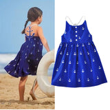 Pretty Deep Blue Anchor Pattern Dress - Lilypond Kids
